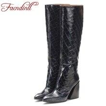 FACNDINLL plus size 34-45 new sexy high heels 2019 fashion autumn winter warm shoes woman knee boots black zipper ladies