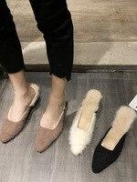 Autumn And Winter Furry Slipper Women's 2019 New Style Outer Wear Autumn Online Celebrity Fashion Closed toe Semi Slipper Ozhouz   -
