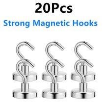 20 pçs forte ganchos magnéticos ganchos de parede pesados cabide chave casaco copo pendurado cabide para casa cozinha armazenamento organização