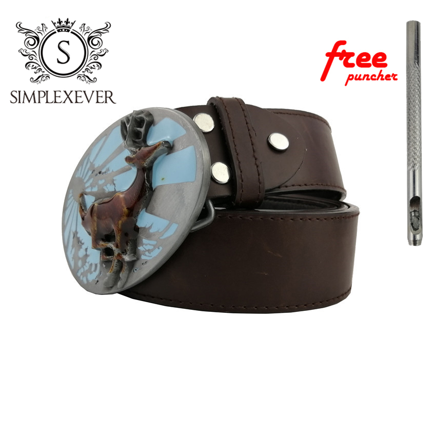 Deer Belt Buckle With Pewter Finish Silver Belt Buckles Accessories For Men Withe PU Belt Drop Shipping