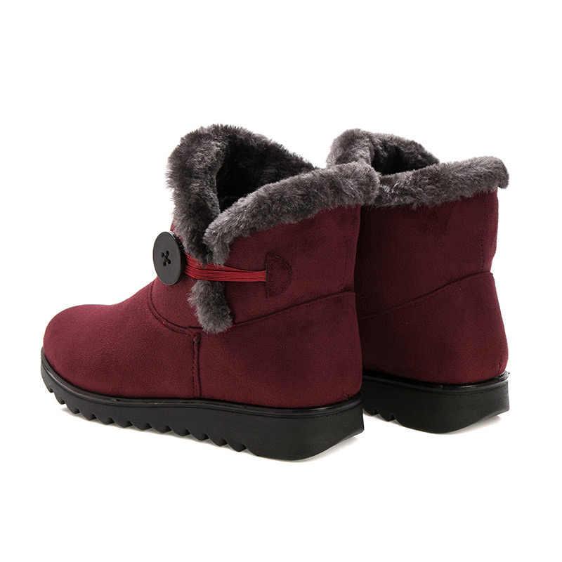 Botas de nieve para mujer, zapatos con cremallera, zapatos de invierno para mujer, botas de piel de cuña, zapatos casuales para mujer, botas de talla grande mujer