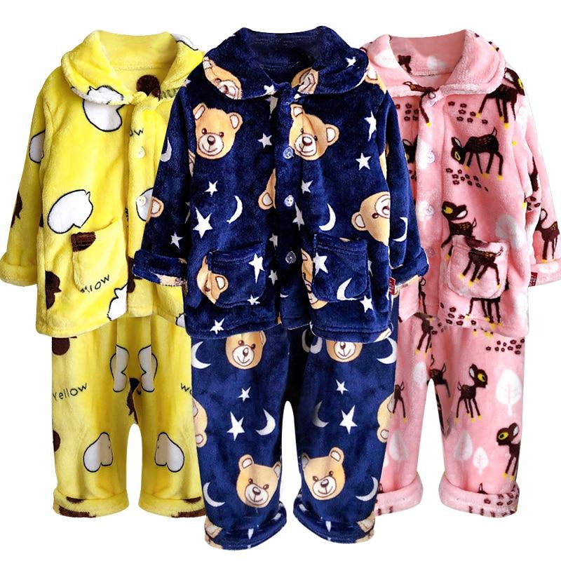 Children's Pajamas Set 2020 Toddler Baby Boy Girl Winter Clothes Set Flannel Warm Sleepwear Set 2pcs Suit Outfits Kids Clothing 1