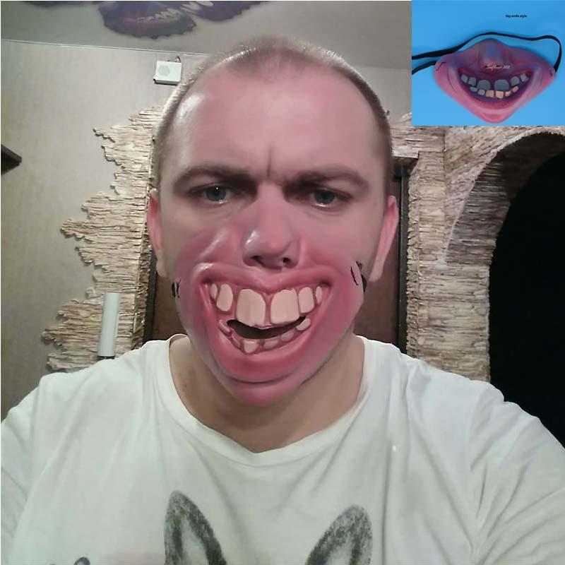 Tricky Big Teeth Latex Mask Fancy Dress Masquerade Party Horror Creepy Elastic Band Half Face Masks Carnival Birthday Gift
