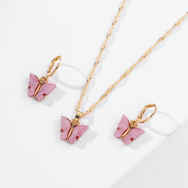 2PCS Butterfly Necklace Earrings Sets For Women Cute Golden Pink Girls Gift Jewelry Earring and Necklace  Jewelry Set