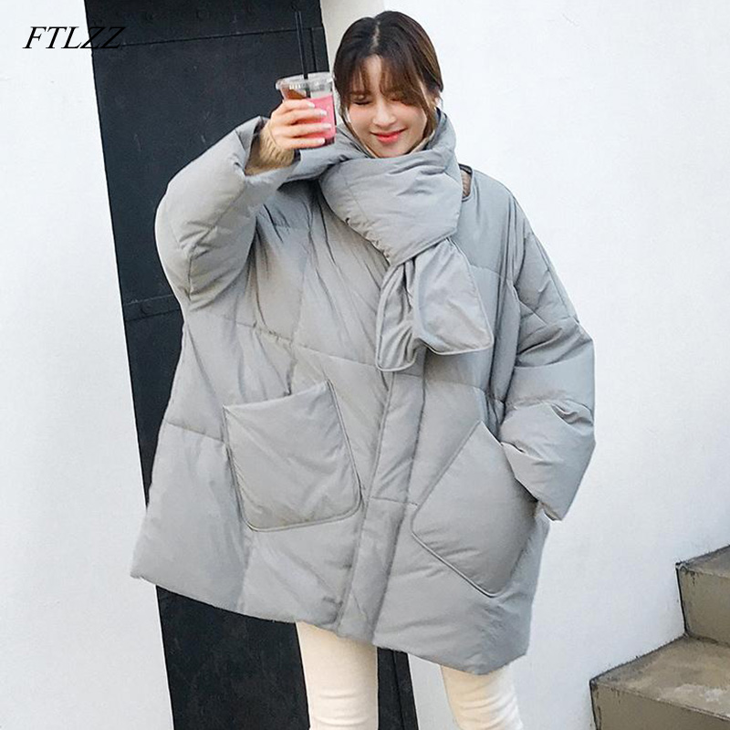 FTLZZ New Winter Jacket Women 90% Duck   Down     Coat   With Scarf Loose Warm Parkas Female Medium Long   Down   Overcoat