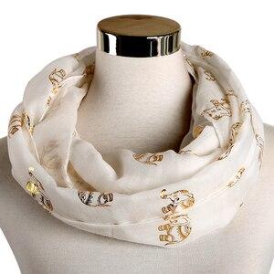 Image 5 - Foxmother Nieuwe Folie Gold Sliver Olifant Animal Print Sjaal Hijab Moslim Sjaal Wraps Ring Loop Sjaals Vrouwen
