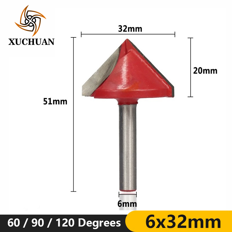 1pc 6x32mm 60/90/120 Degrees Wood Trimmer 3D Router Bit For Woodworking Milling V Shape Engraving Bit Wood Router Bit