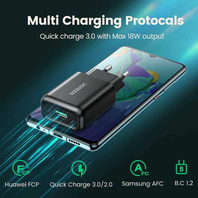Ugreen USB Quick Charge 3.0 QC 18W USB Charger QC3.0 Fast Wall Charger Mobile Phone Charger for Samsung s10 Huawei Xiaomi iPhone 2