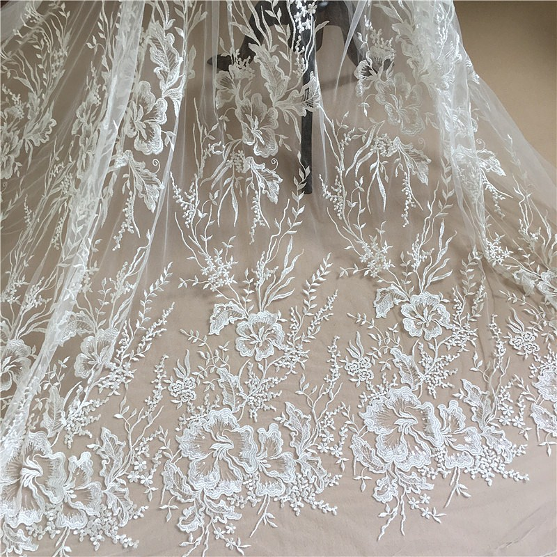 Bridal Embroidered Lace    African Net Lace  Fabric  For Wedding Dress 5 Yards/Lot