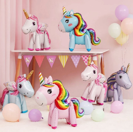 Birthday party decoration 3D stereo assembly stitching fantasy rainbow horse balloon event arrangement unicorn baby bath girl