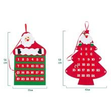 2019 New Arrival Santa Claus Christmas Advent Calendar Countdown Party Shop Decoration Wall Hanging Velvet Calender Gifts