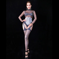 Nightclub Party Dancer Performance Costumes Women Bandage Pattern Role Cosplay Jumpsuit Rhinestone Bodysuit Stage Stretch Romper