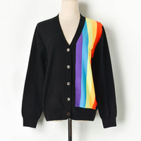 New Rainbow Knitted Striped Cardigans Designer 2019 Autumn Women V neck Sweaters Loose Long Sleeves Jumpers Outerwear Cardigan