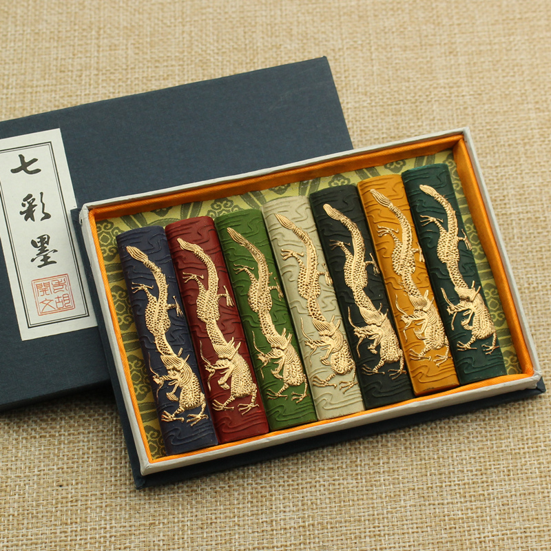Chinese Color Ink Stick Solid Inks Chinese Painting Ink Calligraphy Inkstick 7pcs/set In 7colors 7 Dragons Inks
