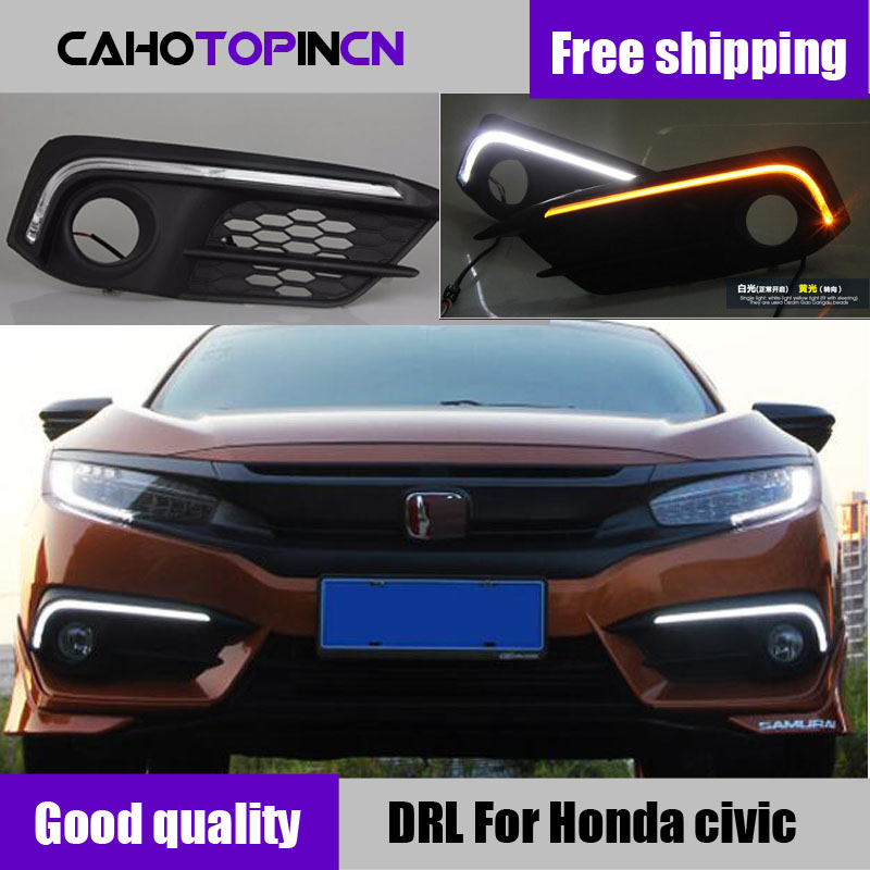 For Honda Civic 2016 2017 2018 12V LED Car DRL Daytime Running Light Driving Daylight Fog Lamp With Turn Signal Style Relay