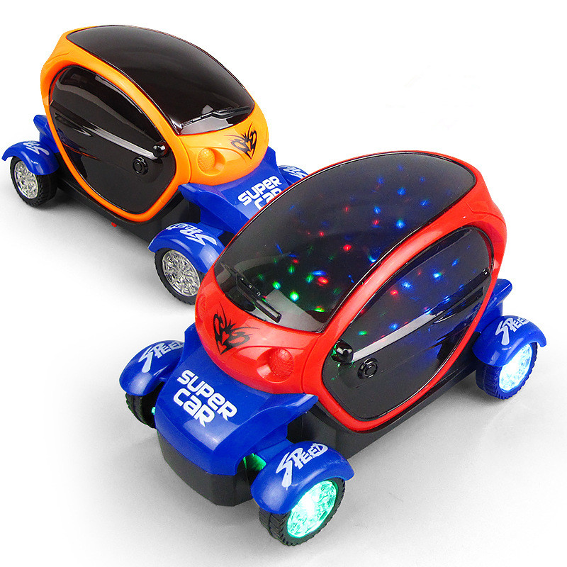 Colorful Lighting Music Cartoon Electric Plastic Toy Car Christmas Gift
