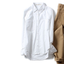 Women White Denim Shirt Blouse Long Sleeve Loose Cotton Jean Overshirt Spring Autumn Casual OL Lady Clothes Fashion All Match
