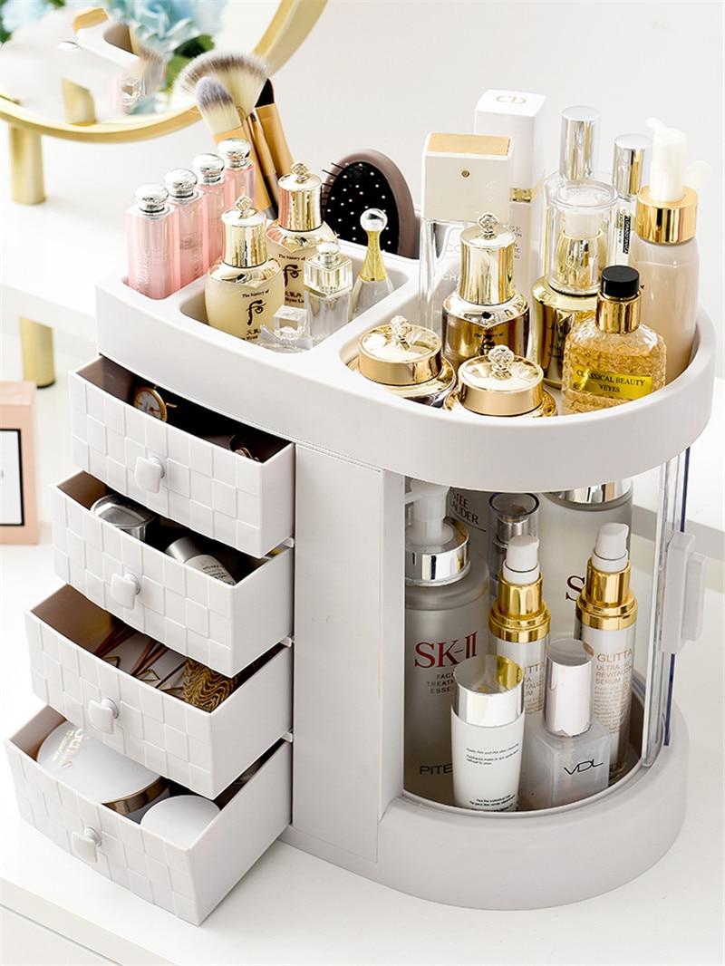 Support pour boucle d'oreilles en plastique boîte de maquillage maison bureau boîte organiseur de bureau pour cosmétique maquillage organisateur boîte bijoux toilette