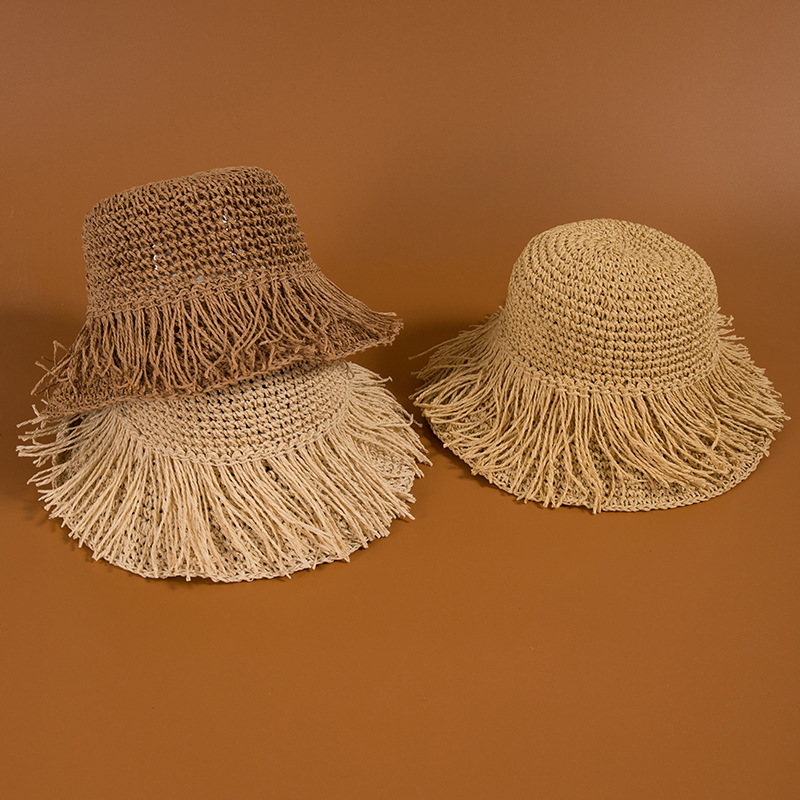 Hat Women's INS Tassels Handmade Straw Hat Korean-style Cool College Style Sun-resistant Foldable Outdoor