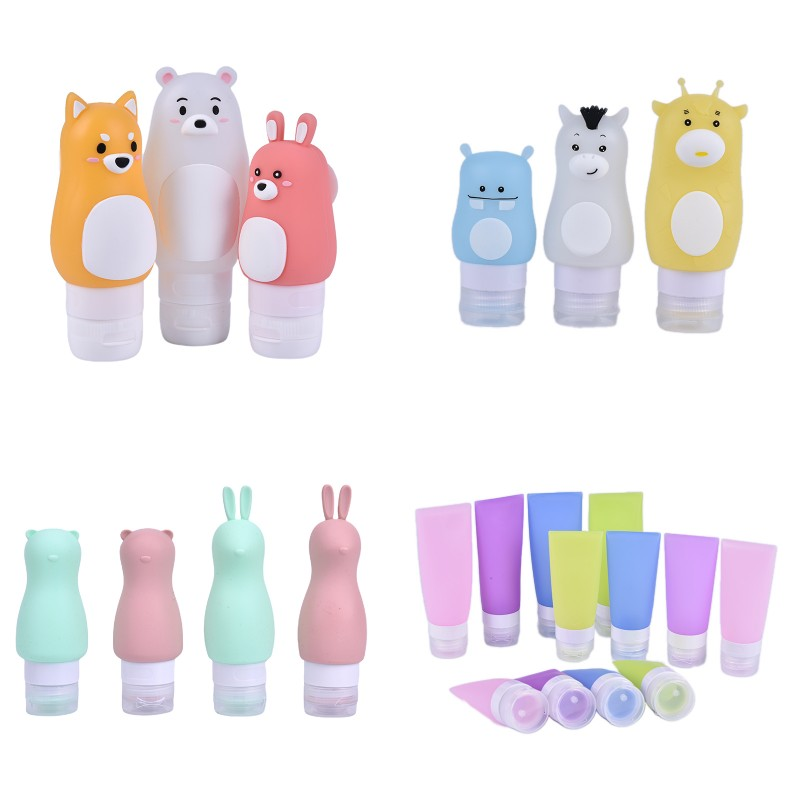 60/80/90ML Portable Cute Refillable Travel Silicone Empty Bottles Shampoo Shower Gel Lotion Sub-bottling Tube Squeeze Container