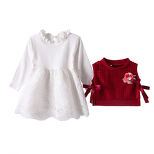 Newborn Girl Dress Spring Long-Sleeve New-Year Bow 1st Autumn 0-To-3-Y Outfit
