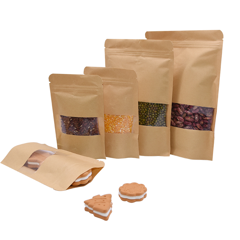 10pcs Kraft Paper Bags Self Sealing Zipper Bag Food Packaging Reusable Pouch Bags Retail Coffee Seed Sweets Pack Baking Supplies