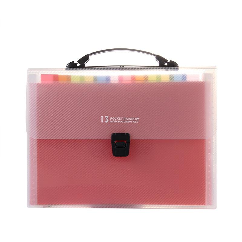 A4 Rainbow Color Expanding File Folder Document Organizer 13 Pockets Accordion Folder Organizer For Portable Documents Bag New