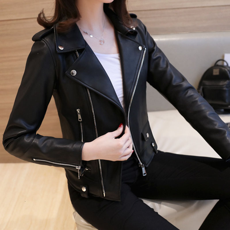 KULAZOPPER New Fashion Women Autumn Winter Black PU   Leather   Jackets Plus velvet Basic Coat Turn-down Collar Biker Jacket LK028
