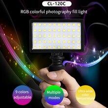 Lâmpada de vídeo on line com 50 contas, mini rgb led, bateria integrada para nikon canon sony dslr vlogs de smartphones preencher luz