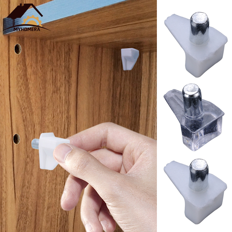 Myhomera 12Pcs Shelf Studs Pegs With Metal Pin Shelves Support Seperator Fixed Cabinet Cupboard Wooden Furniture Bracket Holder