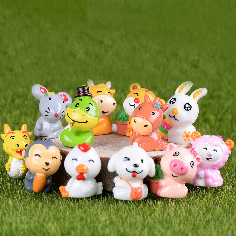 12PCS Cute Mini Resin Chinese Zodiac Animal Figures Dolls Micro Landscape Decor Home Desktop Decorations Dollhouse Ornaments