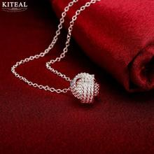 High quality Factory Price Wholesale new Necklace, link Chain silver plated net ball Pendant