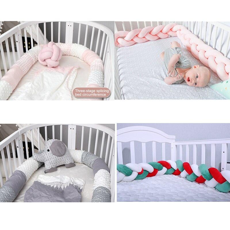 1 2 2.5 3 4M Baby Crib  Bumpesr Pigtail Kids Cot Bed Kids Room Decoration Pillow Braid Cushion Bumper for Infant LivingA024