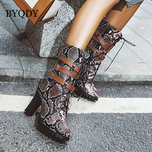 BYQDY Sexy Snake Print PU Boots Motorcycle Winter Metal Buckle Punk Studs Rivets High Heels Ankle Plus Size 48 Comfortable