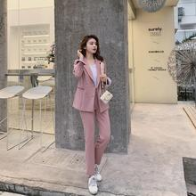 New Fashion Spring Summer Women\'s OL  Blazer Slim Pants Two-Piece Set Suits Female