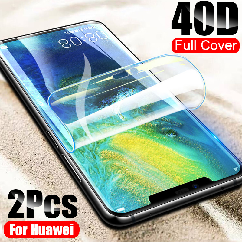2Pcs 40D Screen Protector For Huawei P30 P20 Lite Pro Soft Film For Huawei Mate 20 Lite Mate10 P30 Pro Nova 3 3i Hydrogel Film