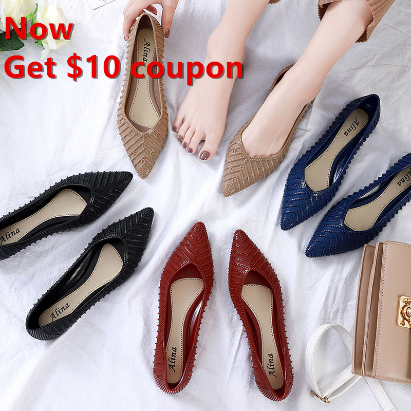 Give $10 coupon Rubber Flat Women Shoes