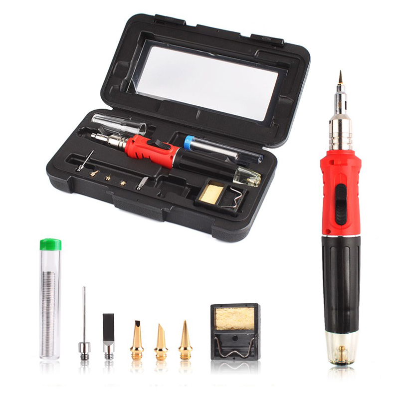 HS-1115K 10 in 1 Professional Butane Multi-functional Gas Soldering Iron electronic fire Cordless Welding Torch spray gun Kit