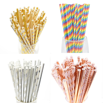 25/50pcs Foil Gold/Silver Disposable Drinking Paper Straws Rainbow For Birthday Wedding Deco Christmas Party Event Supplies - discount item  40% OFF Festive & Party Supplies