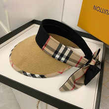 2021 New Fashion Summer Ladies Empty Top Checkered Straw Visor Elegant Ladies Foldable Top Hat Breathable and UV Resistant
