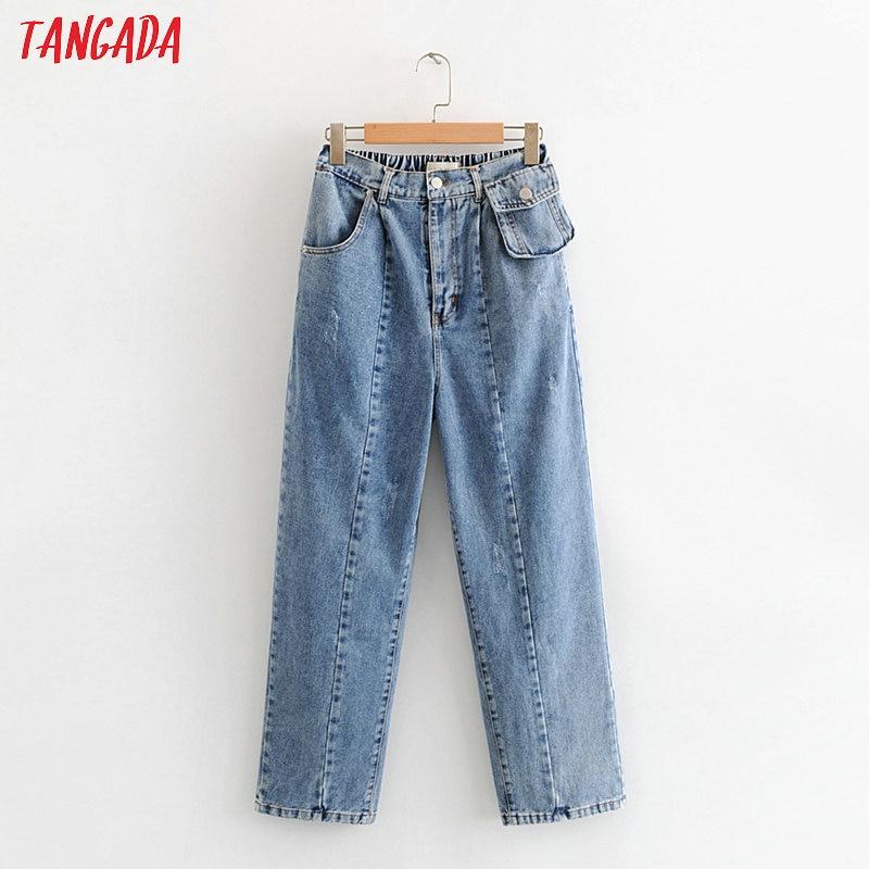 Tangada 2020 Fashion Women Loose Jeans Long Trousers With Small Bag Zipper Streetwear Female Blue Denim Pants 3W80