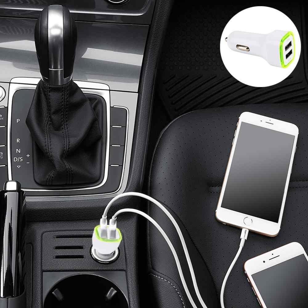 العالمي البسيطة المزدوج 2 ميناء USB السيارات شاحن سيارة محول مأخذ التوصيل ل ل فون الروبوت بلوتوث 2.1A/1.0A DC12-24V