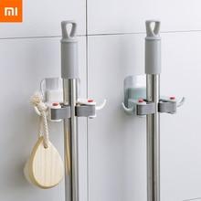 Xiaomi Mijia ติดผนังผู้ถือแปรงแปรงไม้กวาดไม้แขวนเสื้อ Home Storage Rack ห้องน้ำดูดแขวน HouseholdTools