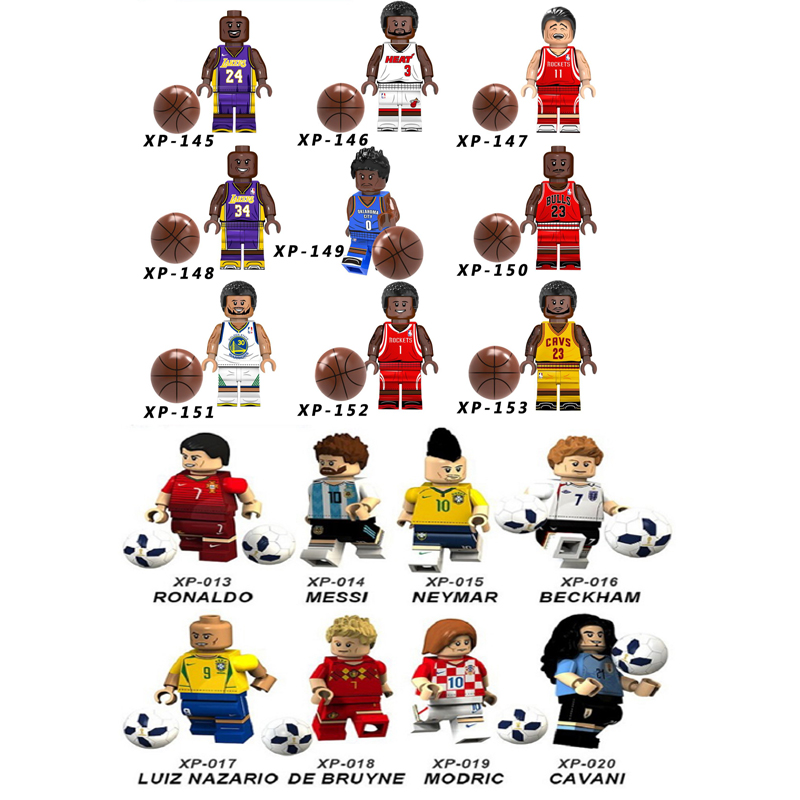 8PCS American Professional Basketball Player LeBron James Kobe Bryant World Cup Building  Blocks Bricks Toys Children