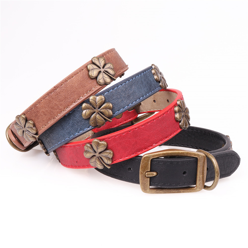 Jin Jie Te 2018 New Style Clover Pet Dog Collar Pu Dog Collar Pet Supplies