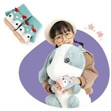 Kids Winter Knit Convertible Gloves Cartoon Reindeer Plush Lined Flip Top Mitten XX9D