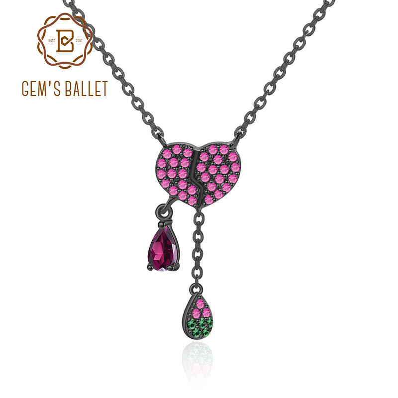 GEM'S BALLET 925 Sterling Silver Natural Rhodolite Gemstone Pendant Heart-shaped tassels Necklace Elegant Fine Jewelry For Women