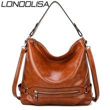 빈티지 Bolsas 오일 가죽 핸드백 여성용 핸드백 2019 Luxury Handbags 여성용 가방 디자이너 Casual Tote Sac A Main