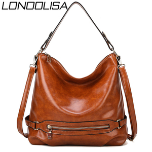 Image 1 - Vintage Bolsas Oil Leather Handbags Ladies Hand Bags for Women 2019 Luxury Handbags Women Bags Designer Casual Tote Sac A Main
