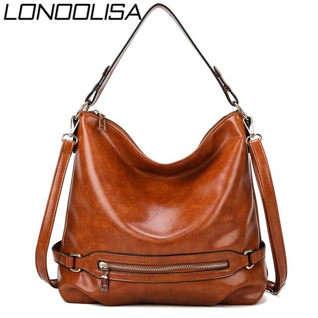 Vintage Bolsas Oil Leather Handbags Ladies Hand Bags for Women 2019 Luxury Handbags Women Bags Designer Casual Tote Sac A Main